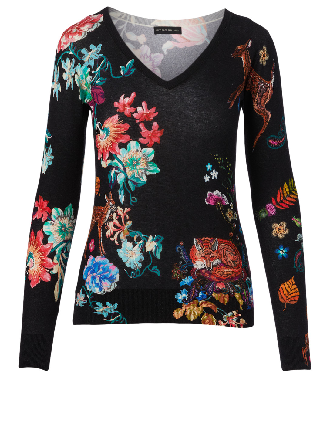 ETRO Silk And Cashmere Sweater In Floral Print Women's Black