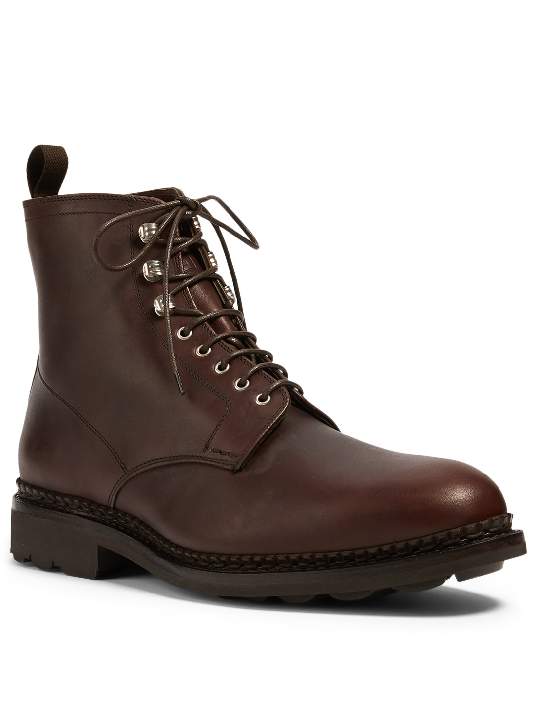 HESCHUNG Hêtre Leather Lace-Up Ankle Boots Men's Brown