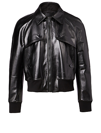 GIVENCHY Leather Blouson Jacket Men's Black