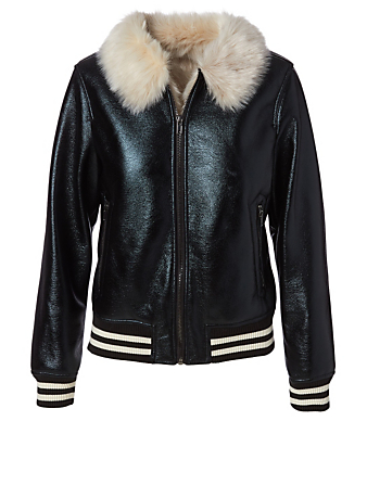 MOTHER Faux Fur Moto Jacket Women's Blue