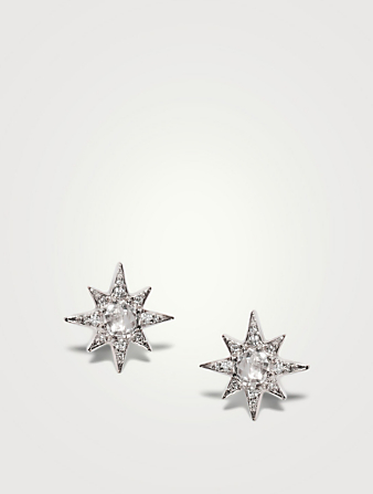 ANZIE Mini Aztec Sterling Silver Starburst Stud Earrings With Topaz And White Sapphires Women's Silver