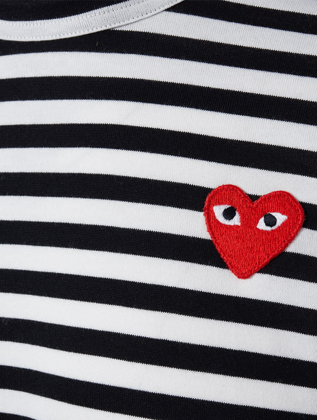 COMME DES GARÇONS PLAY Heart Long Sleeve T-Shirt In Stripe Men's Black