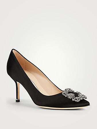 MANOLO BLAHNIK Hangisi 70 Satin Pumps Women's Black