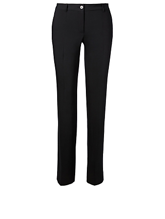 DOLCE & GABBANA Stretch Wool Pants Womens Black