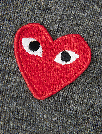 COMME DES GARÇONS PLAY Wool Heart Cardigan Men's Grey