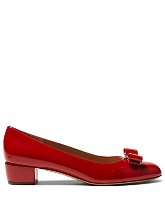 SALVATORE FERRAGAMO Vara Bow Patent Leather Pumps Women's Red