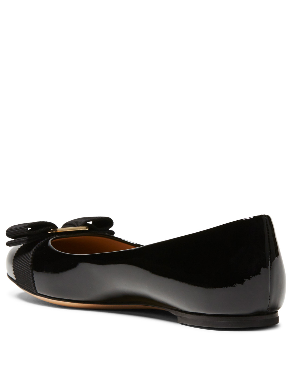 c64bd8ee96eb5 ... SALVATORE FERRAGAMO Varina Patent Leather Ballet Flats Women s Black ...