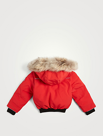 CANADA GOOSE Kids Grizzly Bomber With Fur Hood Kids Red
