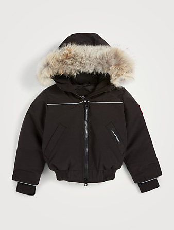 CANADA GOOSE Kids Grizzly Bomber With Fur Hood Kids Black