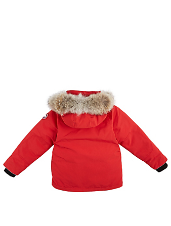CANADA GOOSE Youth Logan Down Parka With Fur Hood Kids Red