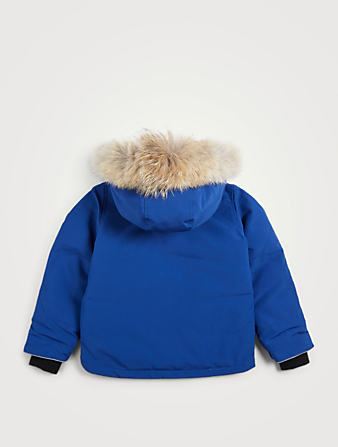 CANADA GOOSE Youth Logan Down Parka With Fur Hood Kids Blue