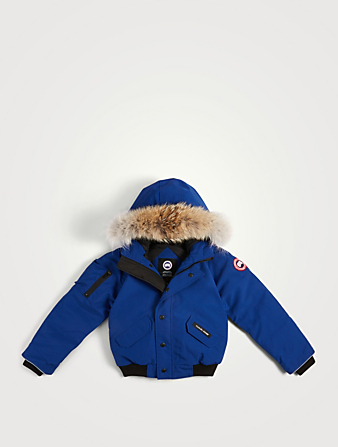CANADA GOOSE Youth Rundle Down Bomber Jacket With Fur Hood Kids Blue