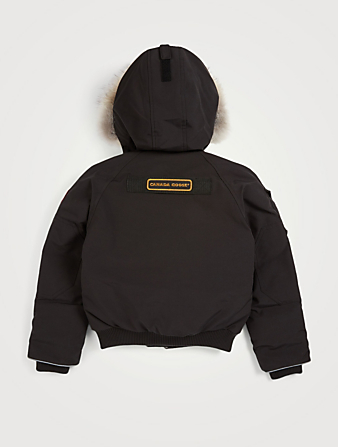CANADA GOOSE Youth Rundle Down Bomber Jacket With Fur Hood Kids Black