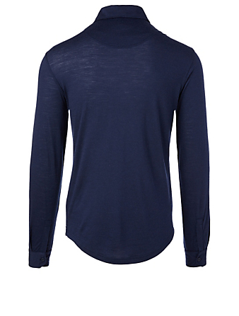 ORLEBAR BROWN Sebastian Merino Long-Sleeve Polo Designers Blue