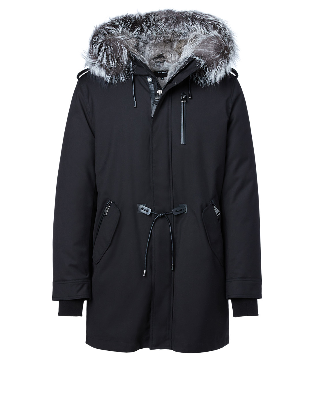 MACKAGE Moritz Down Parka With Silverfox Fur Hood Men's Black