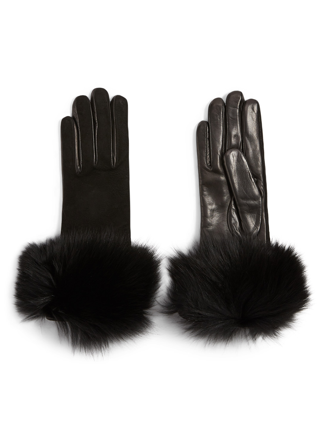 FLORIANA GLOVES Cashmere-Lined Suede And Nappa Leather Gloves With Fur Cuff Women's Black