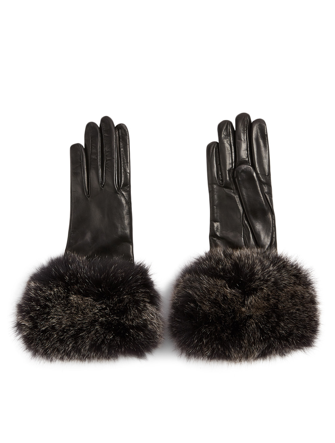 FLORIANA GLOVES Cashmere-Lined Leather Gloves With Fur Cuff Women's Black