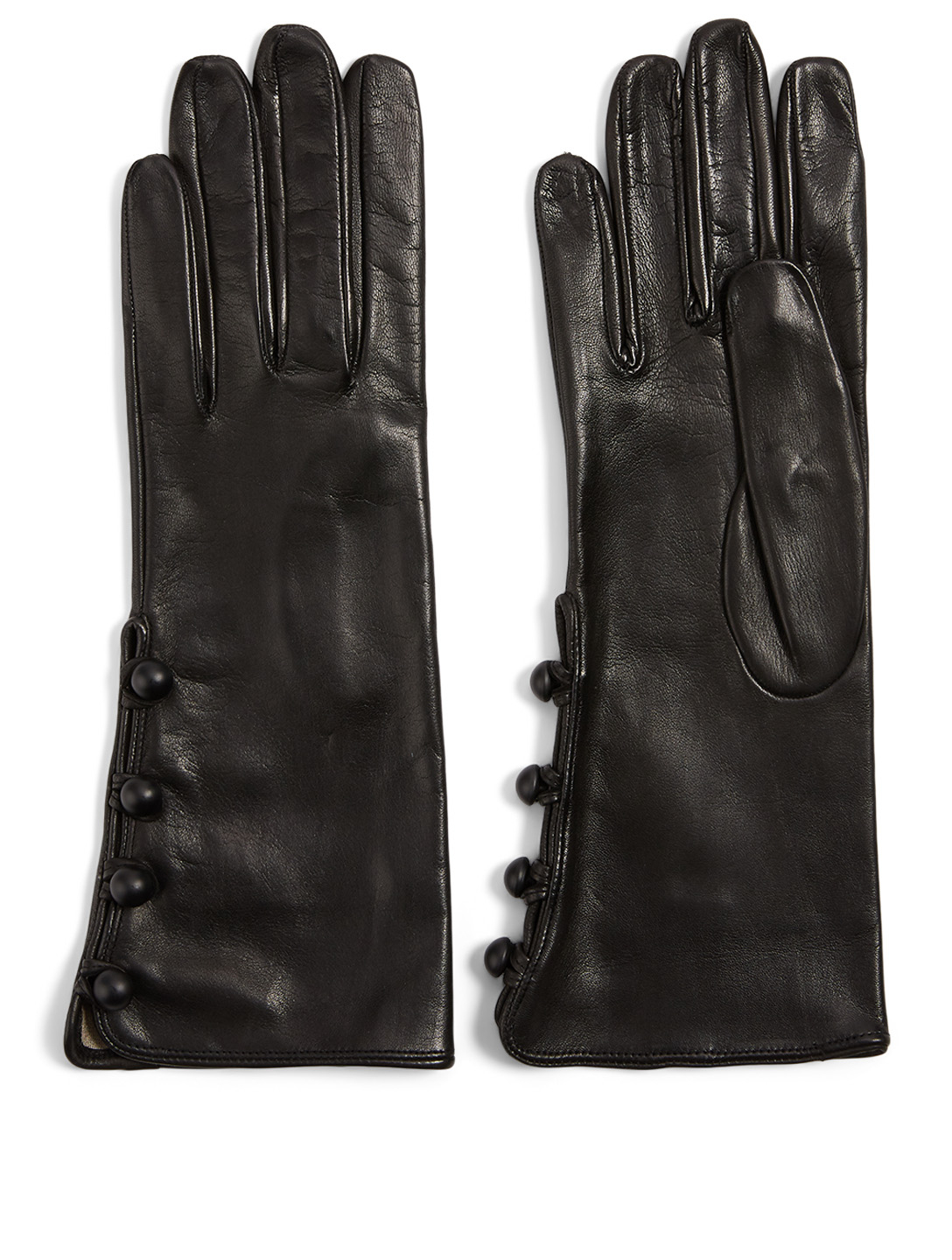 FLORIANA GLOVES Silk-Lined Leather Four-Button Gloves Women's Black