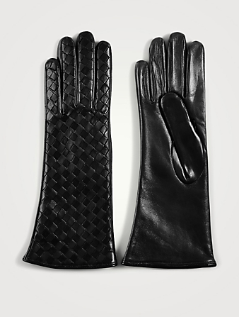 FLORIANA GLOVES Woven Leather Gloves With Cashmere Lining Women's Black