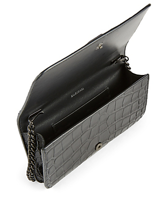 BALENCIAGA BB Phone Croc-Embossed Leather Chain Bag Women's Black