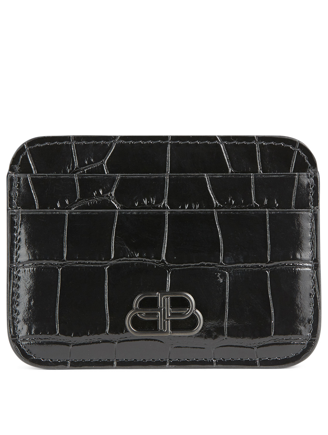 BALENCIAGA BB Croc-Embossed Leather Card Holder Women's Black