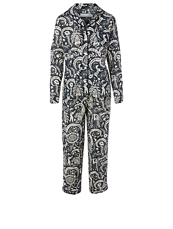 DESMOND & DEMPSEY Zocolo Cotton Long Pajama Set H Project Blue
