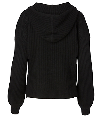 NAADAM Cashmere Ribbed Hoodie H Project Black