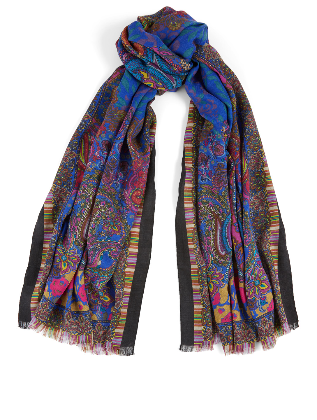 ETRO Shaal-Nur Wool And Silk Scarf In Paisley Print Women's Blue