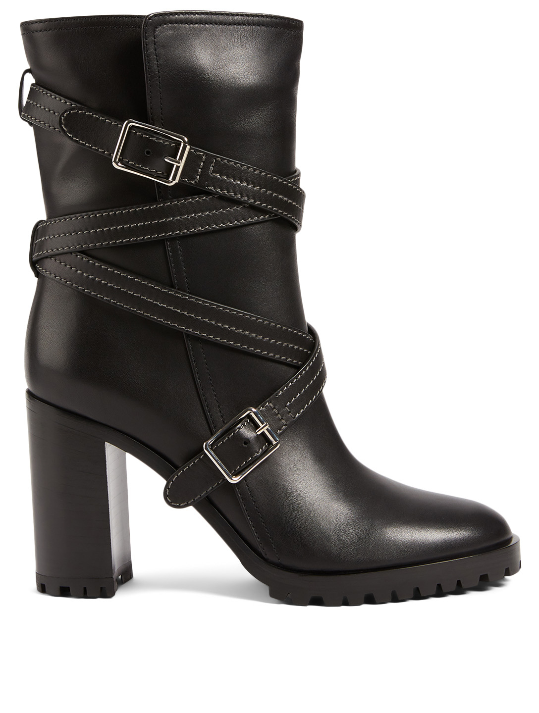 GIANVITO ROSSI Maren Leather Heeled Mid-Calf Boots Women's Black