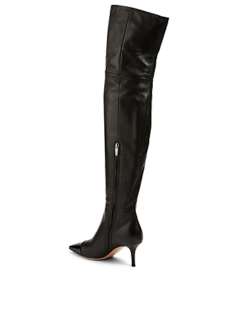 GIANVITO ROSSI Stefanie Leather Heeled Over-The-Knee Boots Women's Black