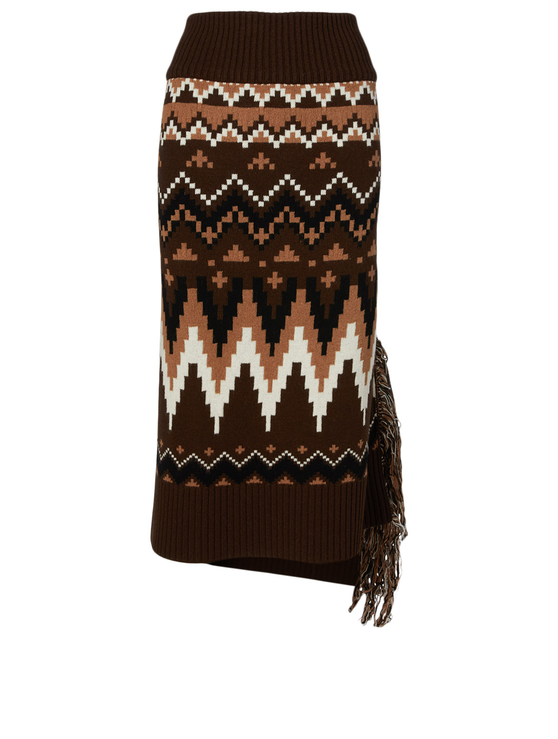 SACAI Wool Midi Skirt In Fair Isle Print Women's Brown