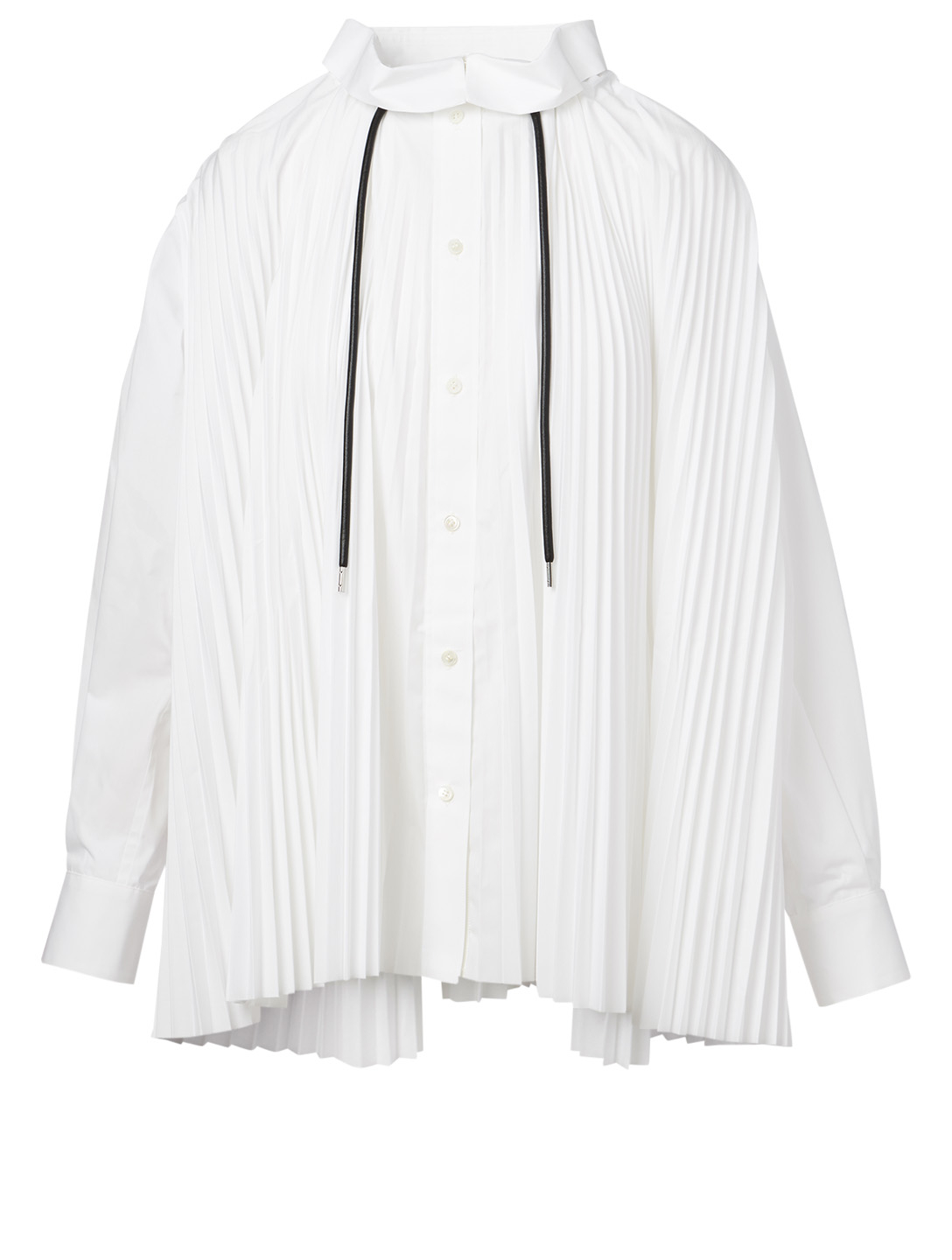 SACAI Cotton-Blend Pleated Shirt Women's White