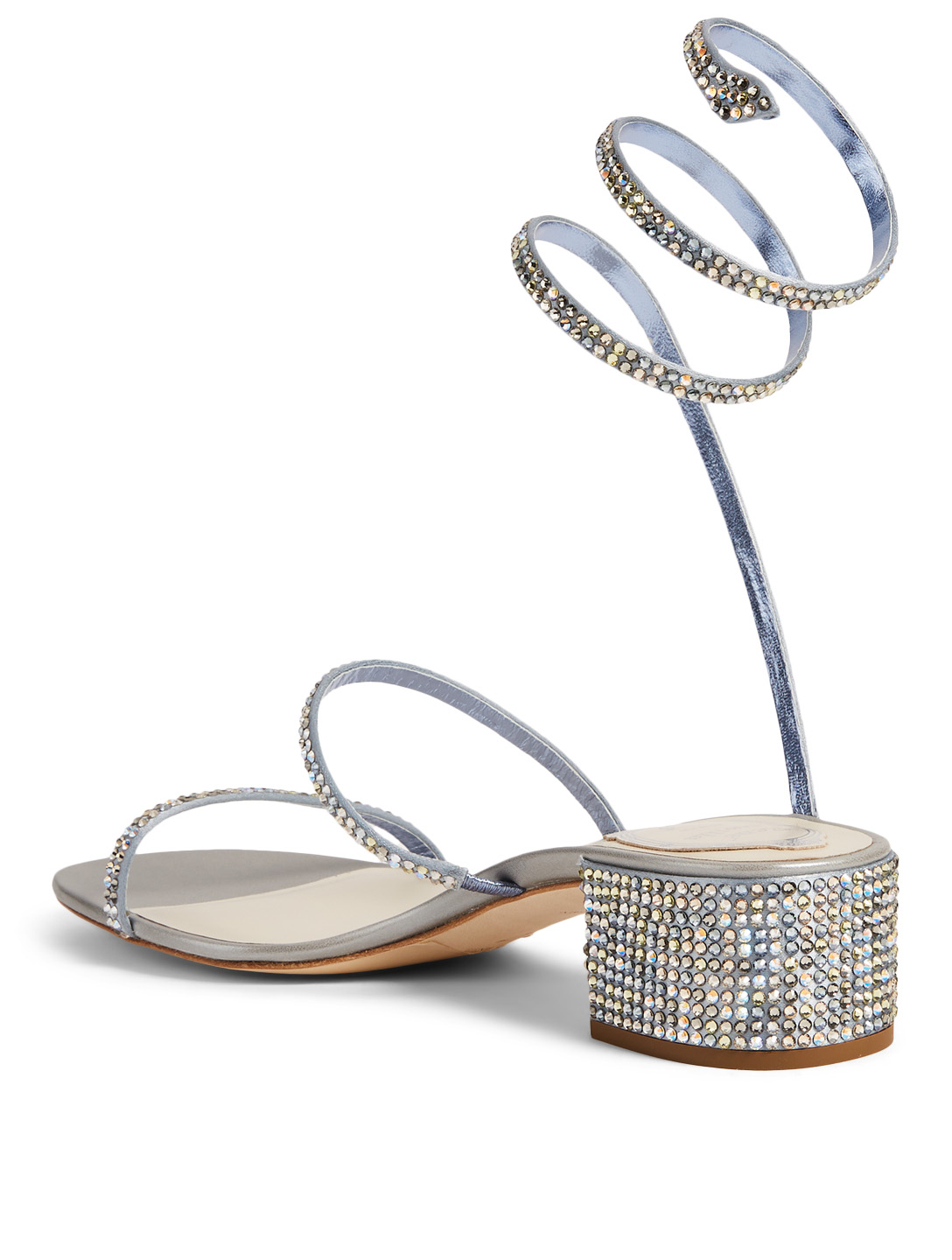 RENE CAOVILLA Cleo Rainbow 40 Satin Crystal Coil Heeled Sandals Women's Metallic