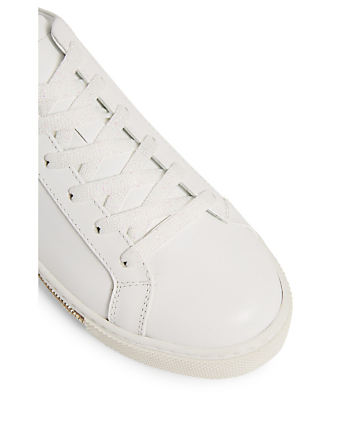 RENE CAOVILLA Xtra Crystal Leather Sneakers Women's White