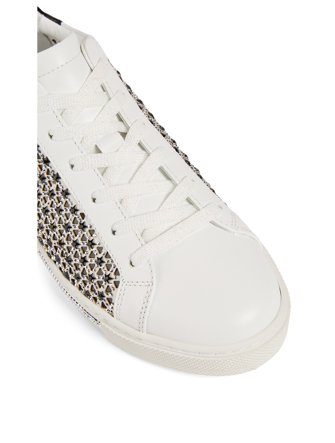 RENE CAOVILLA Xtra Stelina Crystal Star Leather Sneakers Women's White