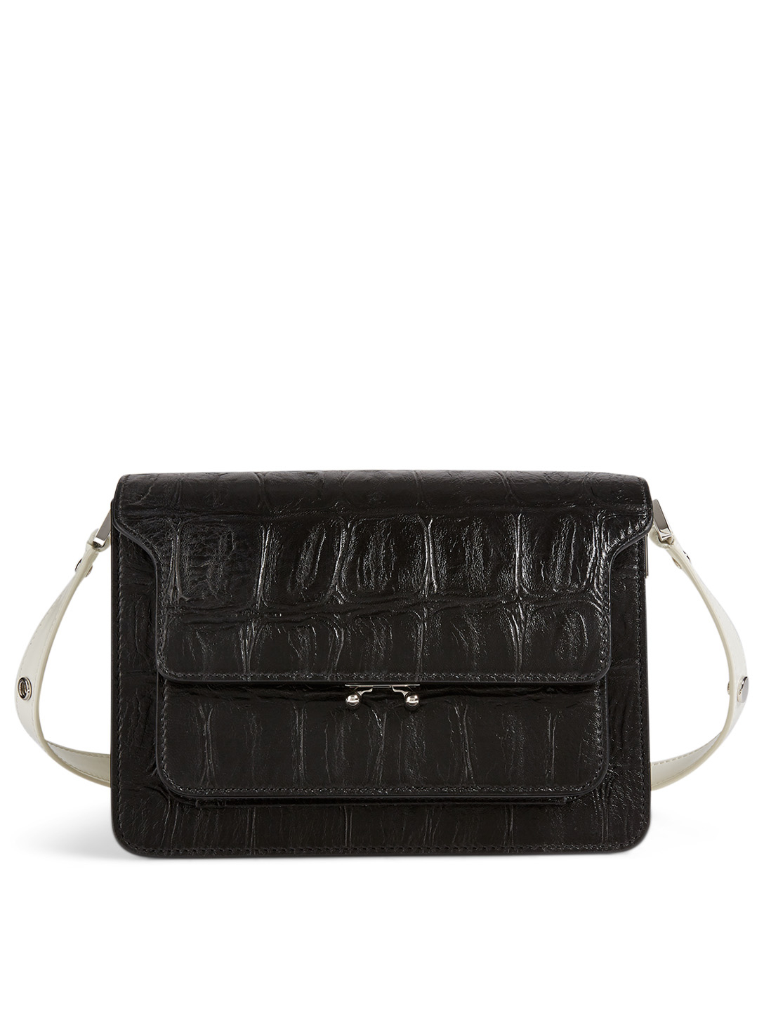 MARNI Trunk Croc-Embossed Leather Bag Women's Black