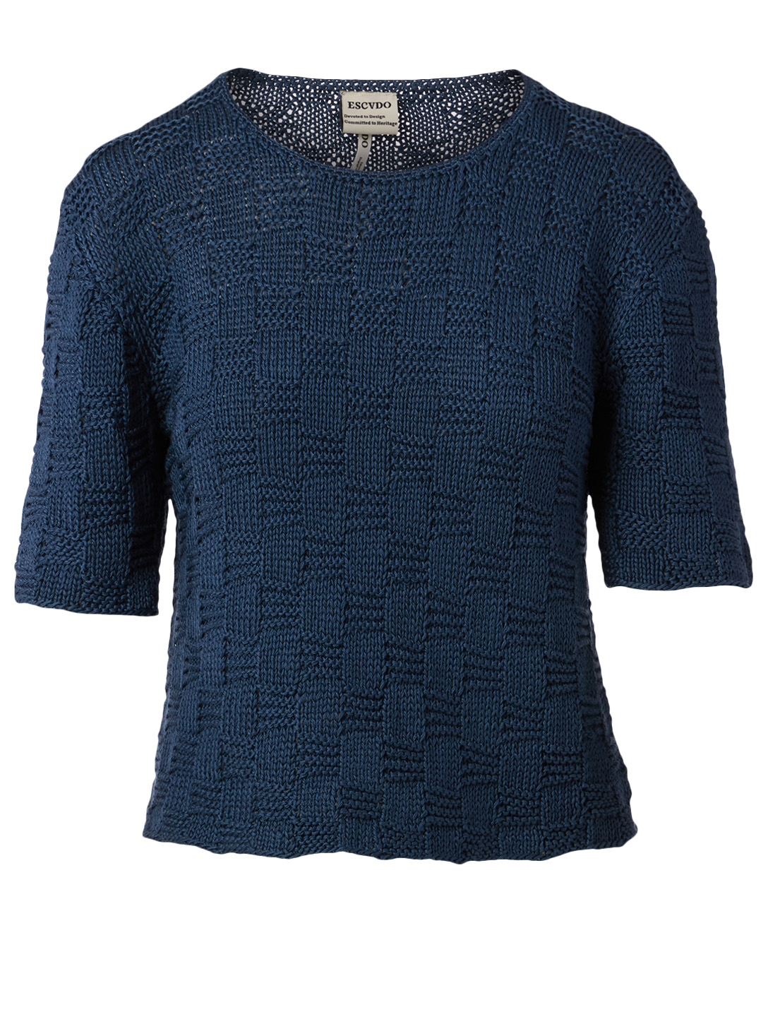ESCVDO Stone Cotton Knit Top Women's Blue