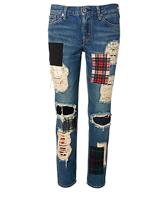 JUNYA WATANABE Cotton Patchwork Jeans Women's Blue