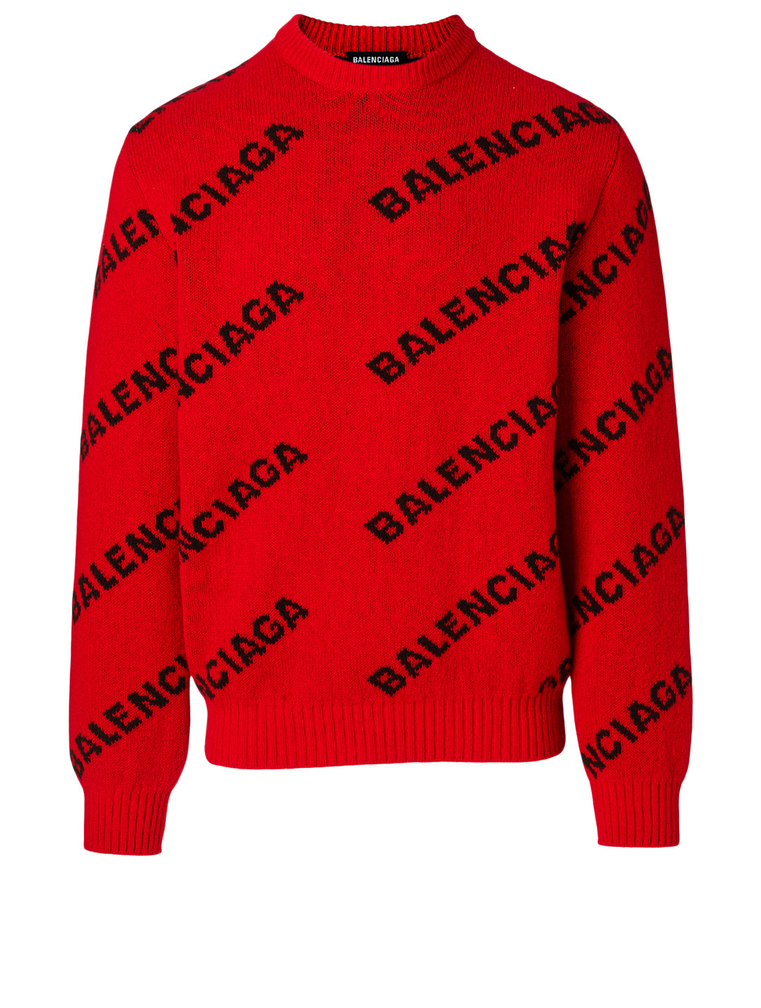 BALENCIAGA Wool Logo Sweater Men's Red