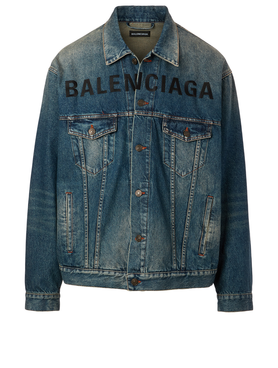 BALENCIAGA Logo Denim Jacket Men's Blue