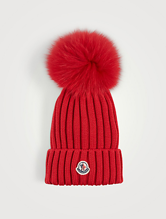MONCLER Ribbed Wool Toque With Fur Pom Women's Red