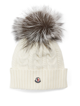 MONCLER Cable Wool And Cashmere Toque With Fur Pom Women's White