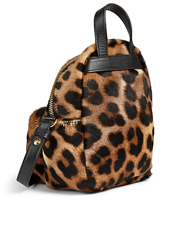 MONCLER Mini Kilia Calf Hair Backpack In Leopard Print Women's Brown