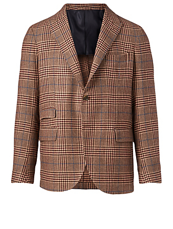 ELEVENTY Wool And Linen Blazer In Plaid Print Men's Brown