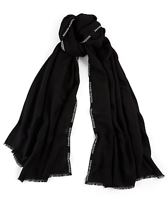 ALEXANDER MCQUEEN Cashmere And Silk Scarf With Selvedge Logo Women's Black