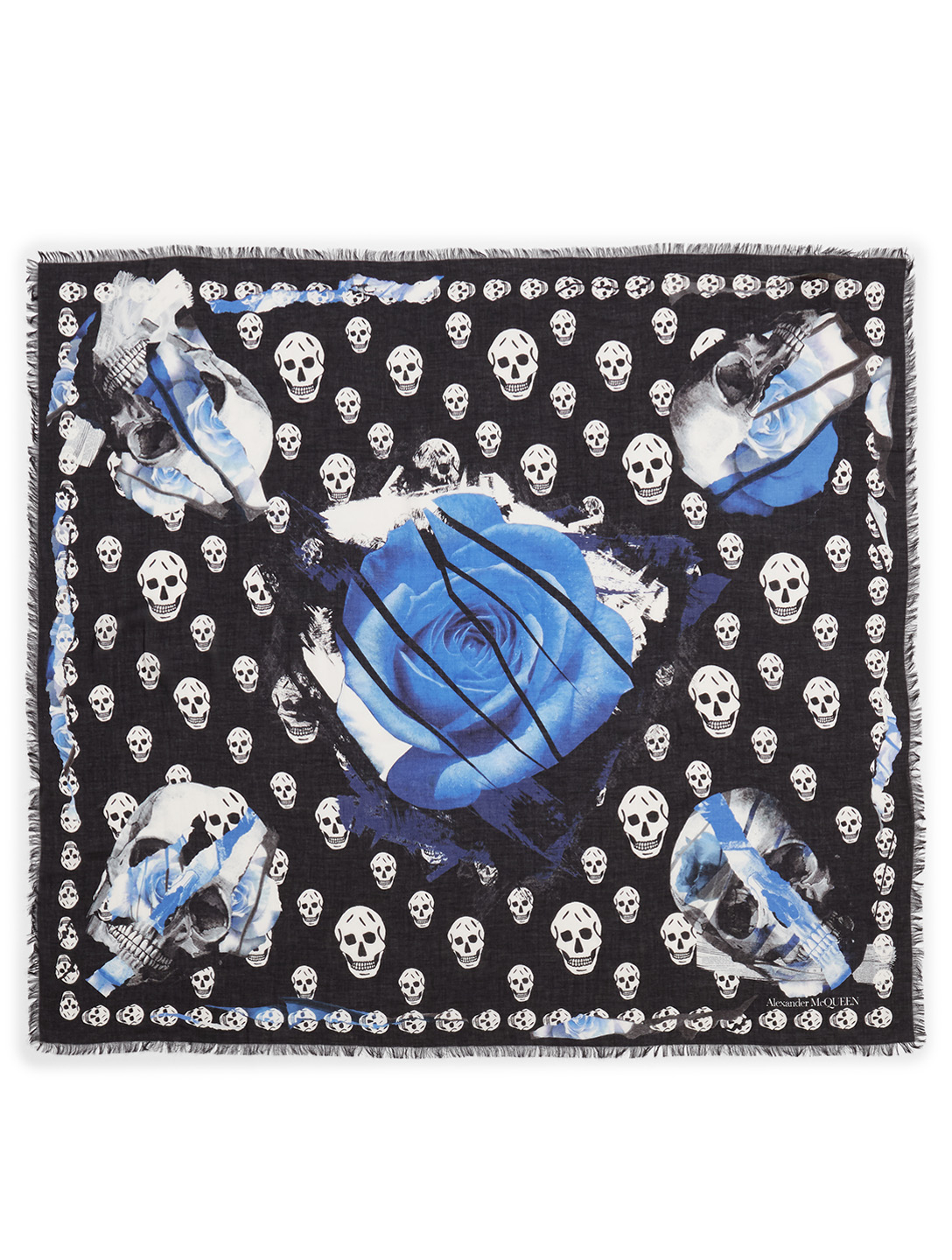 ALEXANDER MCQUEEN Large Torn Roses Modal And Wool Scarf Women's Black