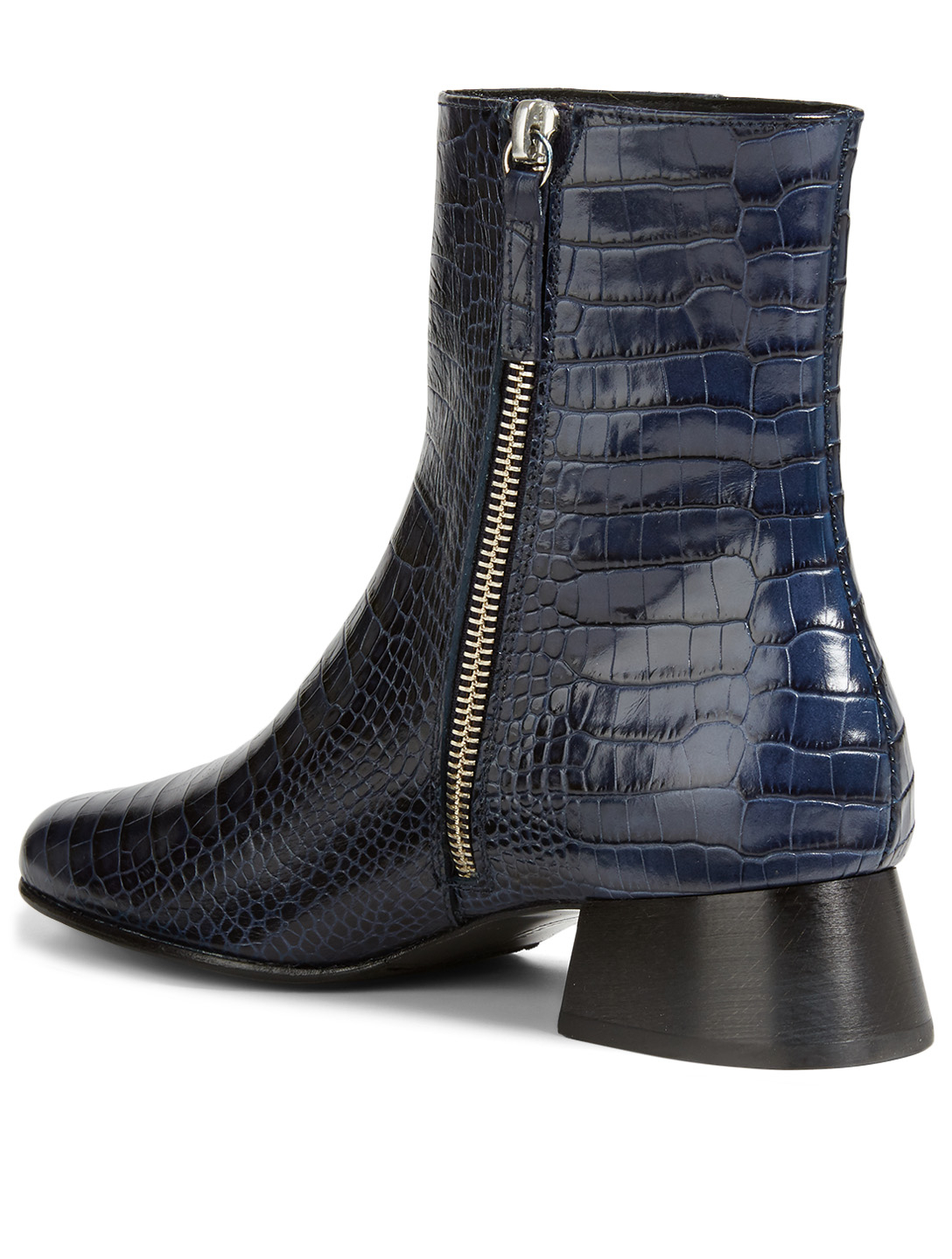 FREDA SALVADOR Tina Croc-Embossed Leather Heeled Ankle Boots Women's Blue
