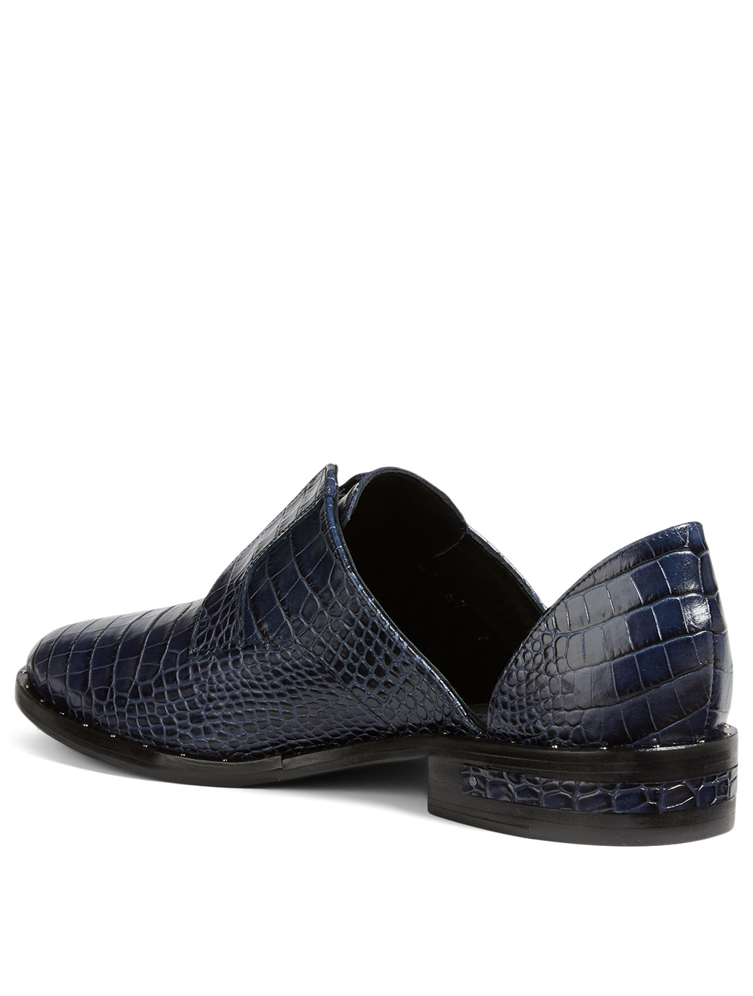 FREDA SALVADOR Wear Croc-Embossed Laceless D'Orsay Derby Shoes Women's Blue