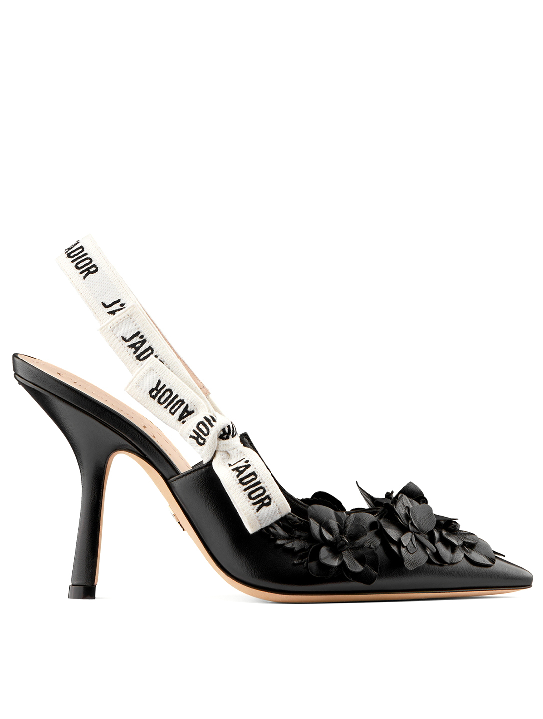 DIOR J'Adior Leather Slingback Pumps With Flowers Women's Black