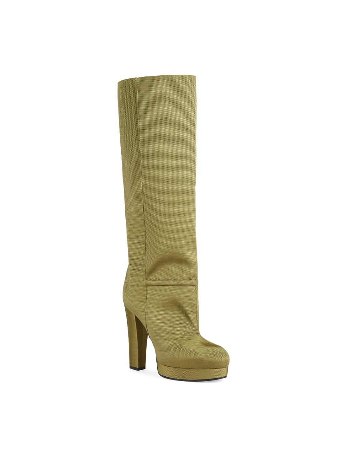 GUCCI Ribbed Fabric Platform Knee-High Boots Women's Green